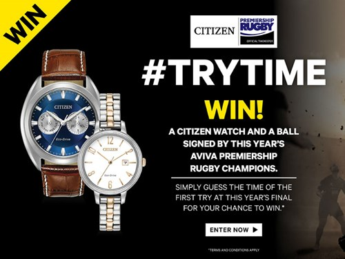 Win a Citizen watch and a ball signed by this year's Aviva Premiership champions