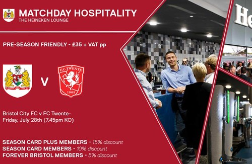 Hospitality available for FC Twente clash
