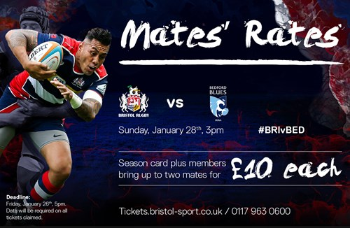 'Mates rates' when Bristol Rugby face Bedford Blues