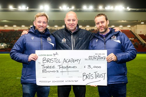 BRIS Trust present cheque to Academy at Ashton Gate
