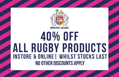 40% off rugby merchandise instore and online during March