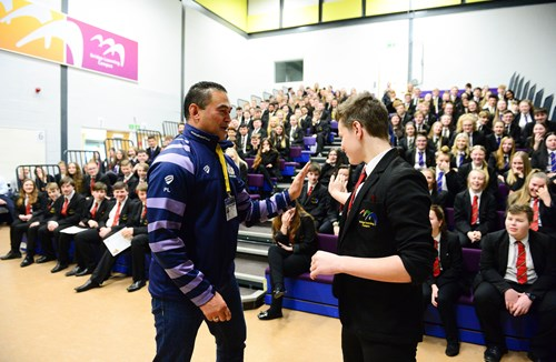 Gallery: Pat Lam visits students at Bridge Learning Campus