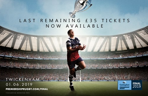 Last remaining £35 tickets for the Gallagher Premiership Rugby Final