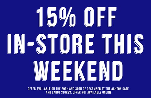 15% off all products in-store all weekend!
