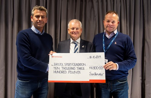 Santander present cheque to Bristol Sport Foundation