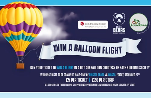 Win a hot air balloon ride at matchday charity raffle