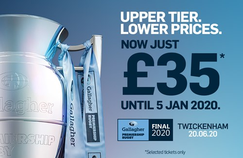 All upper tier tickets to Premiership Final just £35 until January 5th