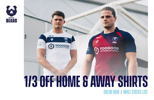 1/3 off Bristol Bears home and away shirt offer now available!
