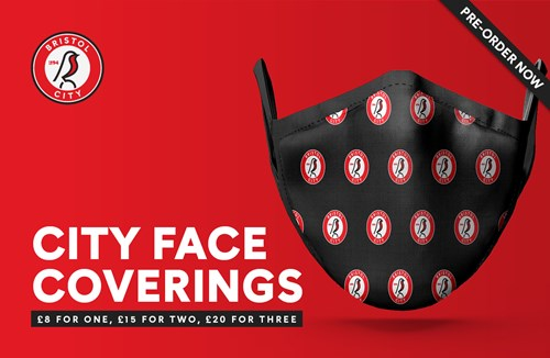 Branded face coverings available to pre-order