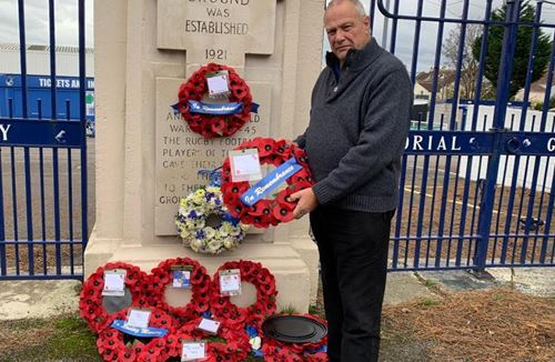 Chris Booy lays wreath at Memorial Gates on Remembrance Day