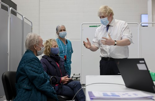 Boris Johnson Visits Ashton Gate Stadium As Super Vaccination Hub Opens