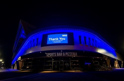 Ashton Gate Stadium lights blue in support of the NHS
